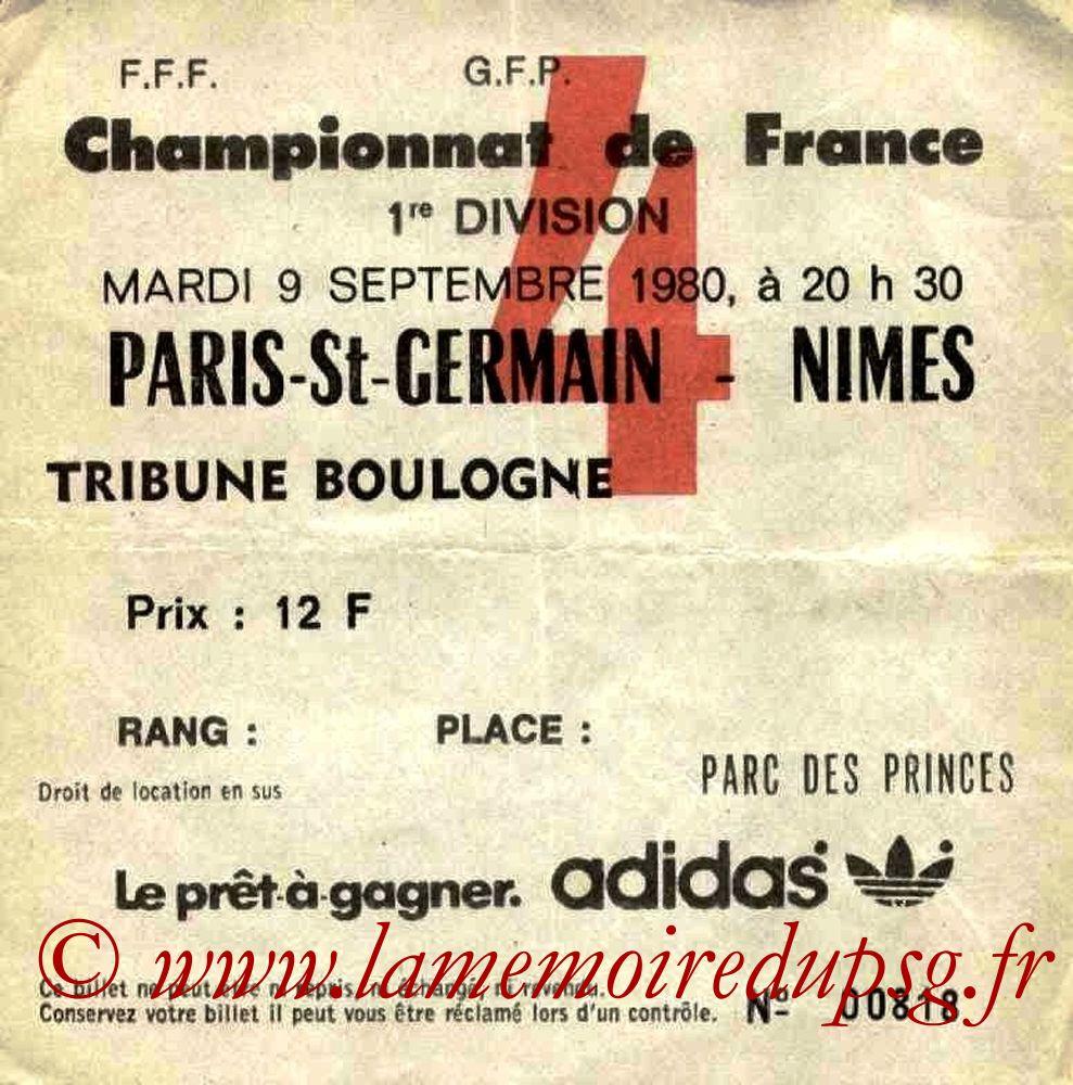 1980-09-09  PSG-Nîmes (9ème D1, Ticket N°4)