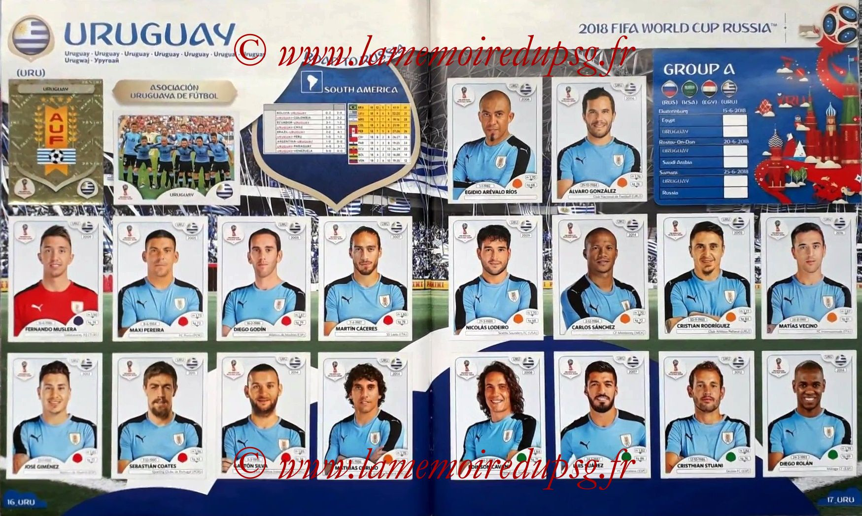 2018 - Panini FIFA World Cup Russia Stickers - Pages 16 et 17 - Uruguay