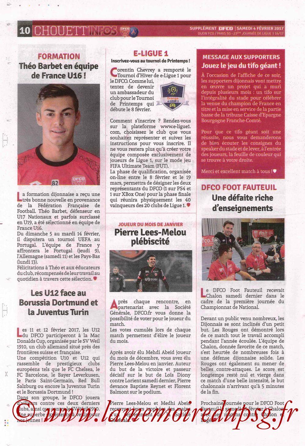 2017-02-04  Dijon-PSG (23ème L1, Chouett' Info N°12) - Page 10