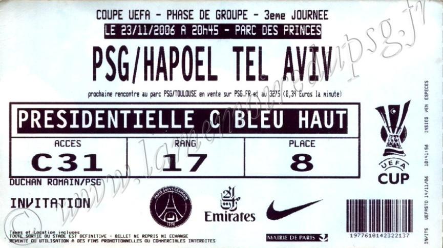 2006-11-23  PSG-Hapoel Tel Aviv (3ème journée poule C3, bis)