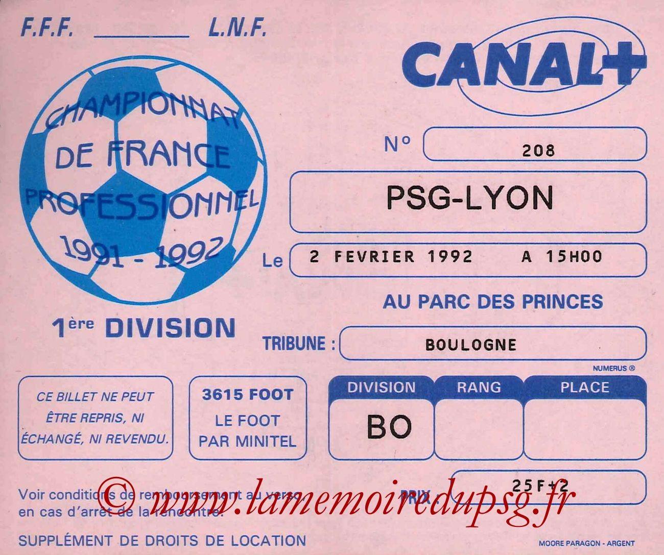 1992-02-02  PSG-Lyon (27ème D1)