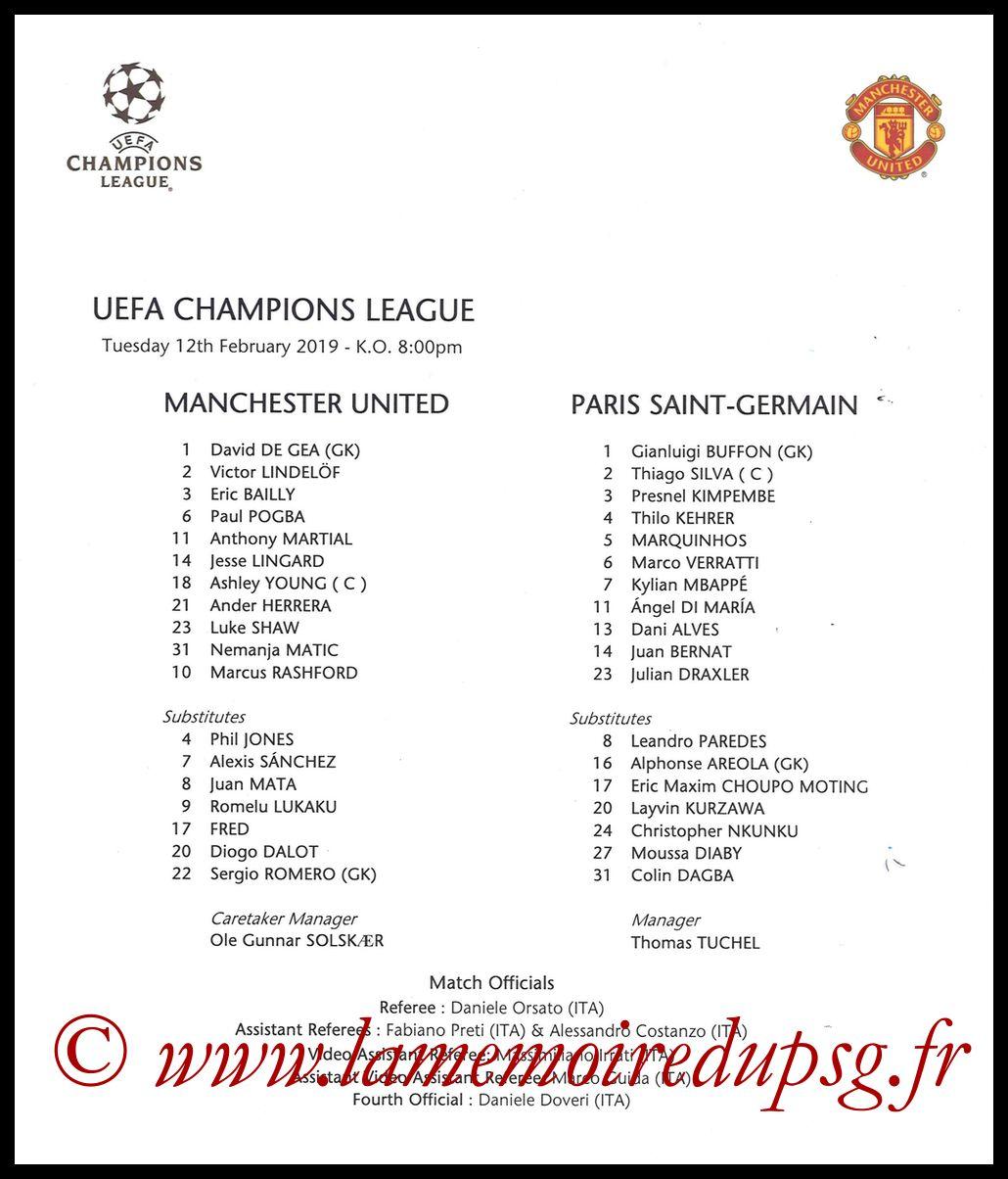 2019-02-12  Manchester United-PSG (8ème Finale C1 Aller, Feuille de match)