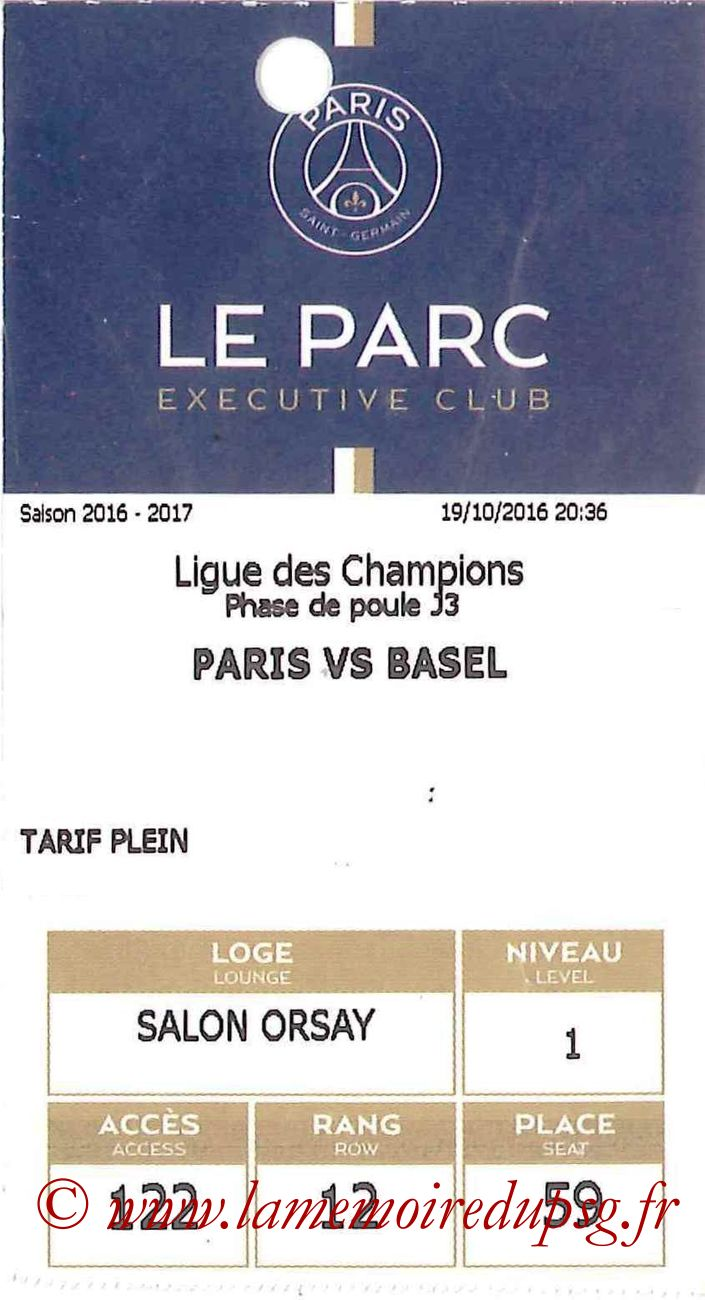 2016-10-19  PSG-FC Bale (3ème C1, E-ticket Executive Club)