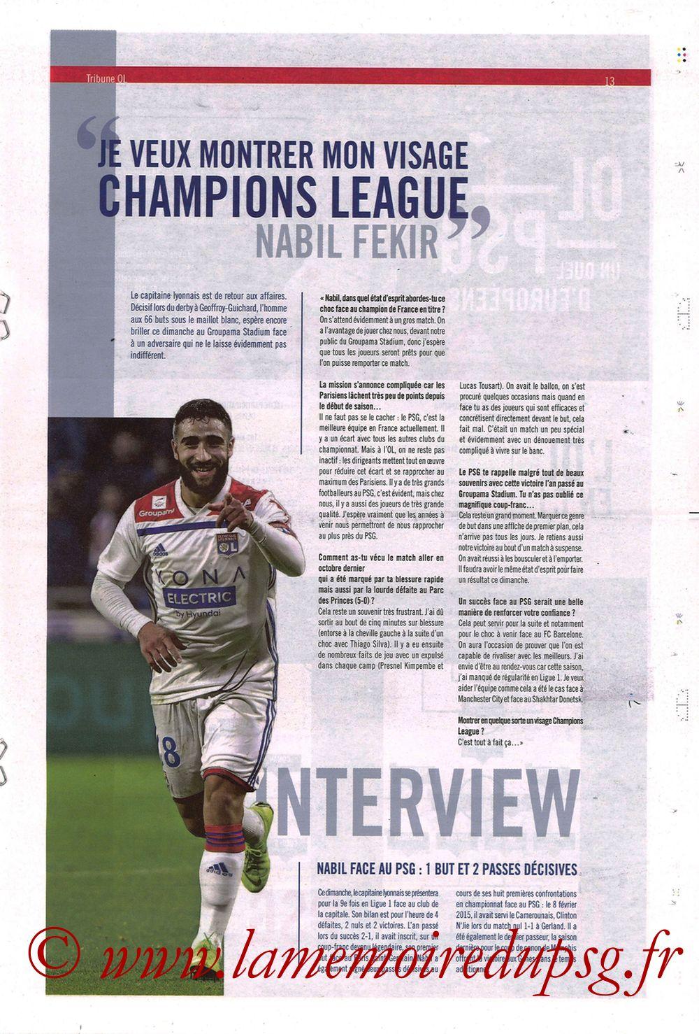 2019-02-03  Lyon-PSG (23ème L1, La Tribune OL N°270) - Page 13