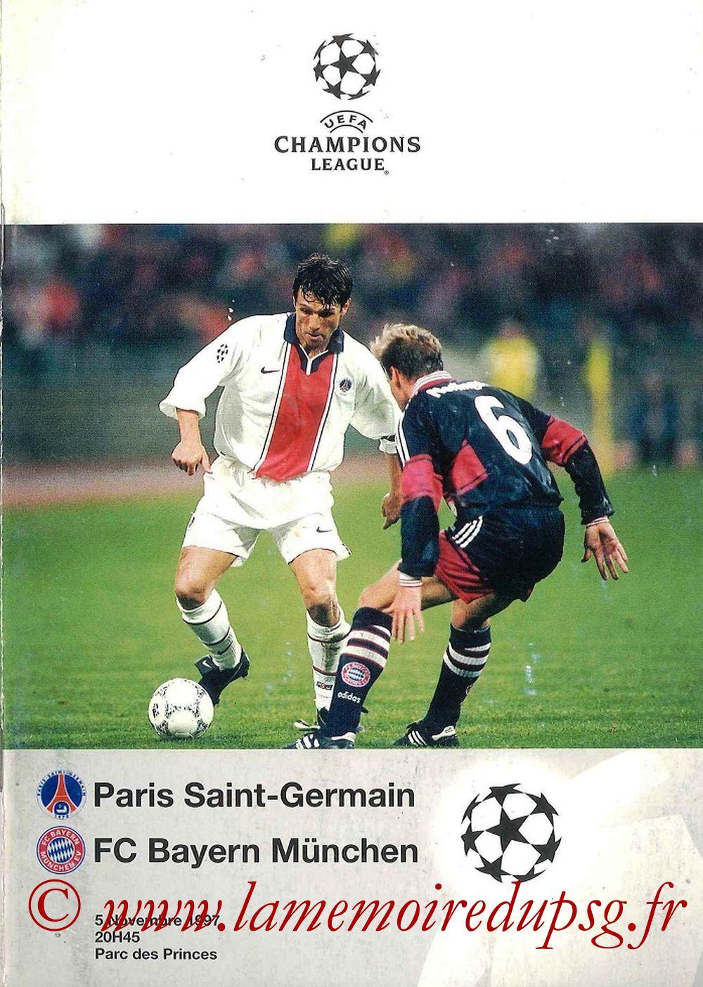 1997-11-05  PSG-Bayern Munich (4ème C1, Programme Officiel UEFA)
