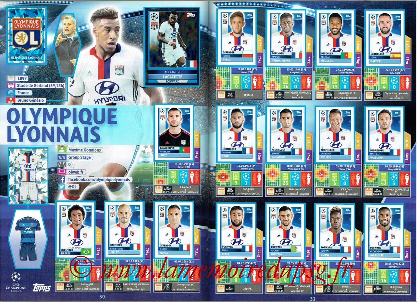 2016-17 - Topps UEFA Champions League Stickers - Pages 30 et 31 - Olympique Lyonnais