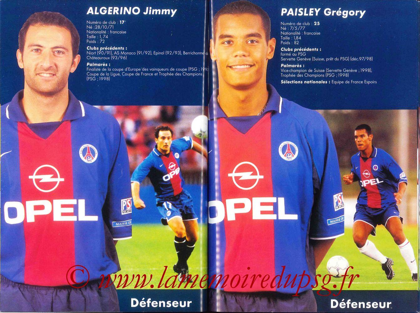 2000-01 - Guide de la Saison PSG - Pages 38 et 39