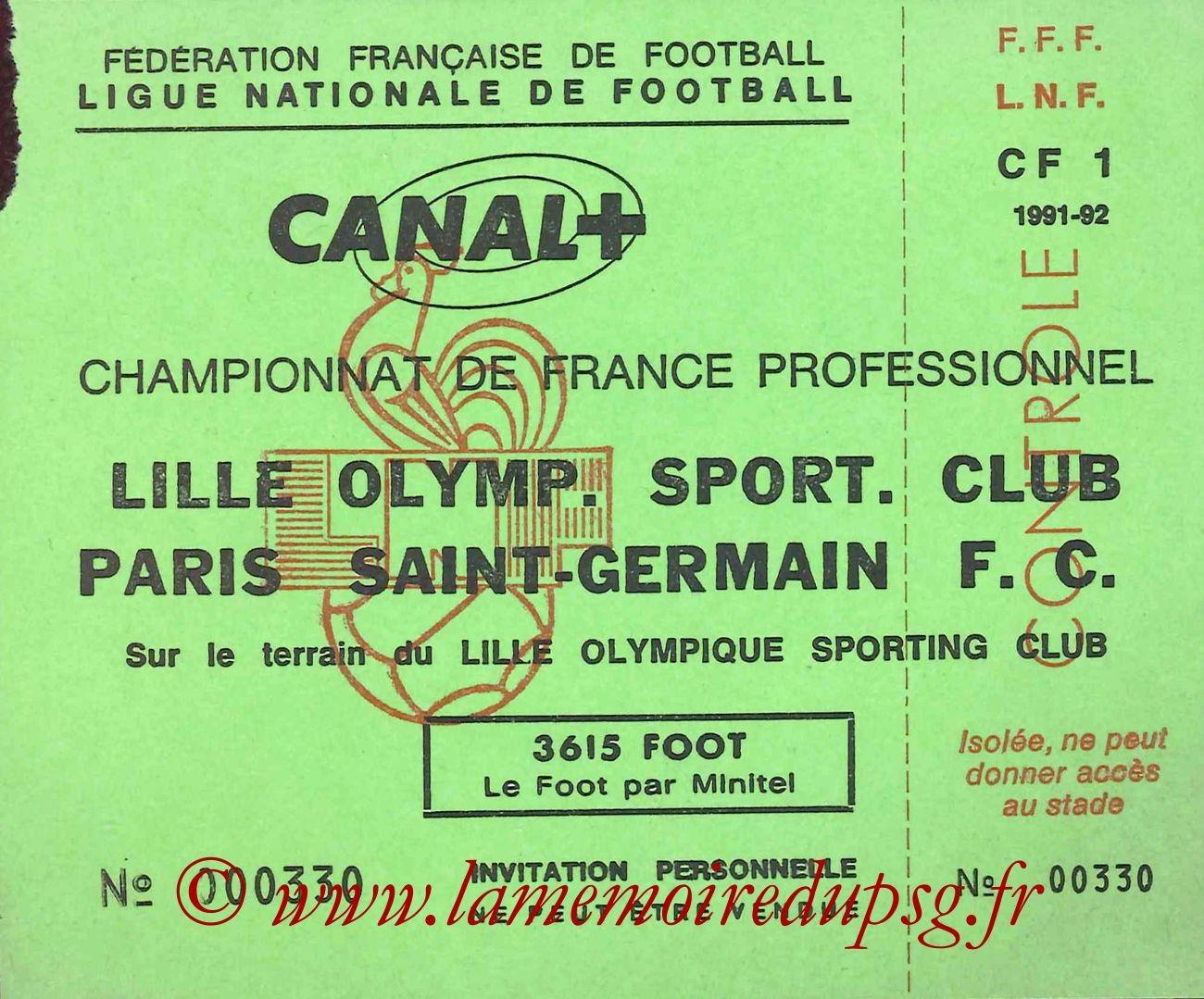 1992-02-08  Lille-PSG (28ème D1, Invitation LNF)