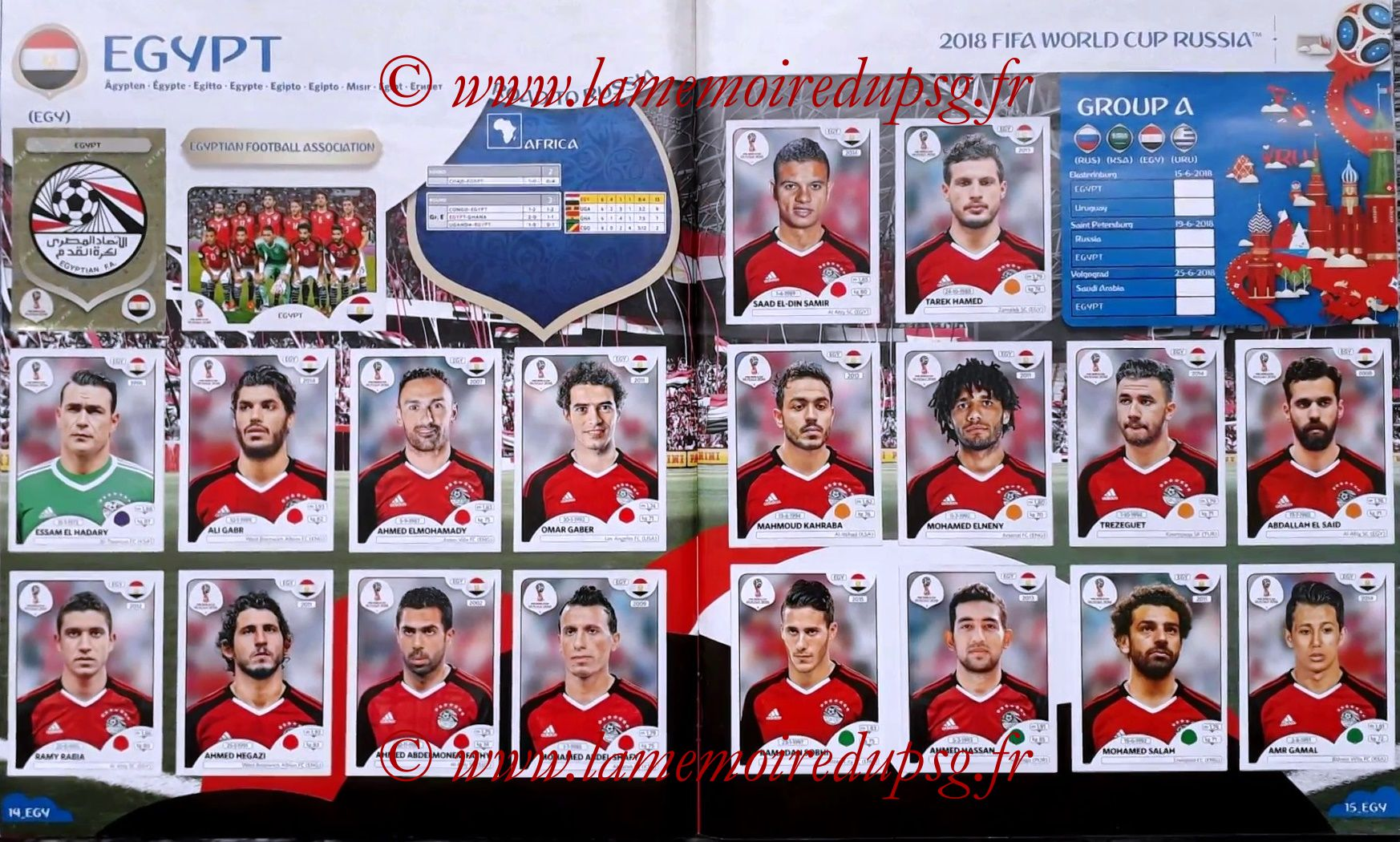 2018 - Panini FIFA World Cup Russia Stickers - Pages 14 et 15 - Egypte