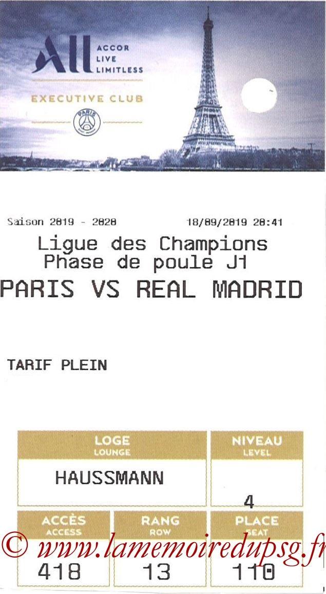 2019-09-18  PSG-Real Madrid (1ère C1, E-ticket Executive club)