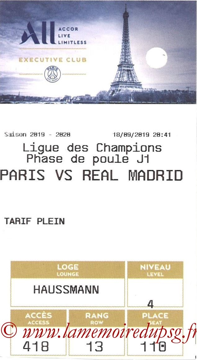 2019-09-18  PSG-Real Madrid (1ère C1, E-ticket Executive club)