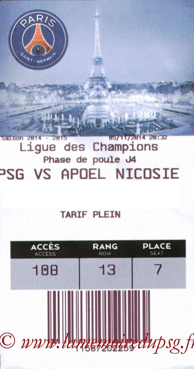 2014-11-05  PSG-Apoel Nicosie (4ème Poule C1, E-ticket2)