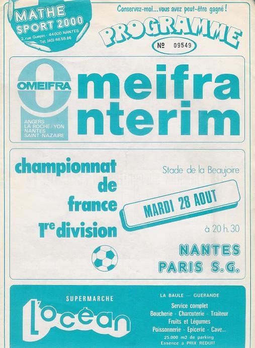 1984-08-28  Nantes-PSG (4ème D1, Programme Officiel)