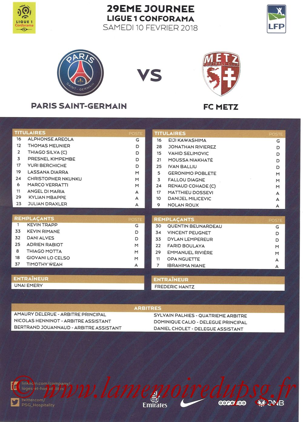 2018-03-10  PSG-Metz (29ème L1, Feuille de match)