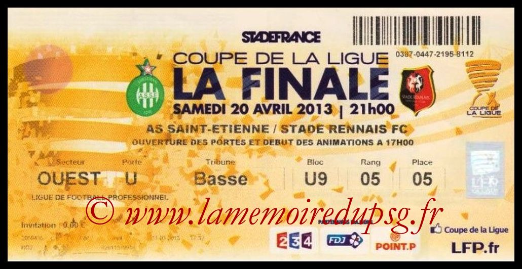 Ticket Finale CL N° 19 - 2013-04-20 - Saint Etienne-Rennes (Stade de France)