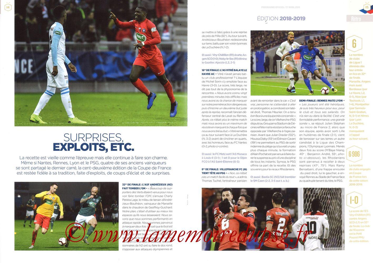 2019-04-27  Rennes-PSG (Finale CF au Stade de France, Programme officiel FFF) - Pages 14 et 15