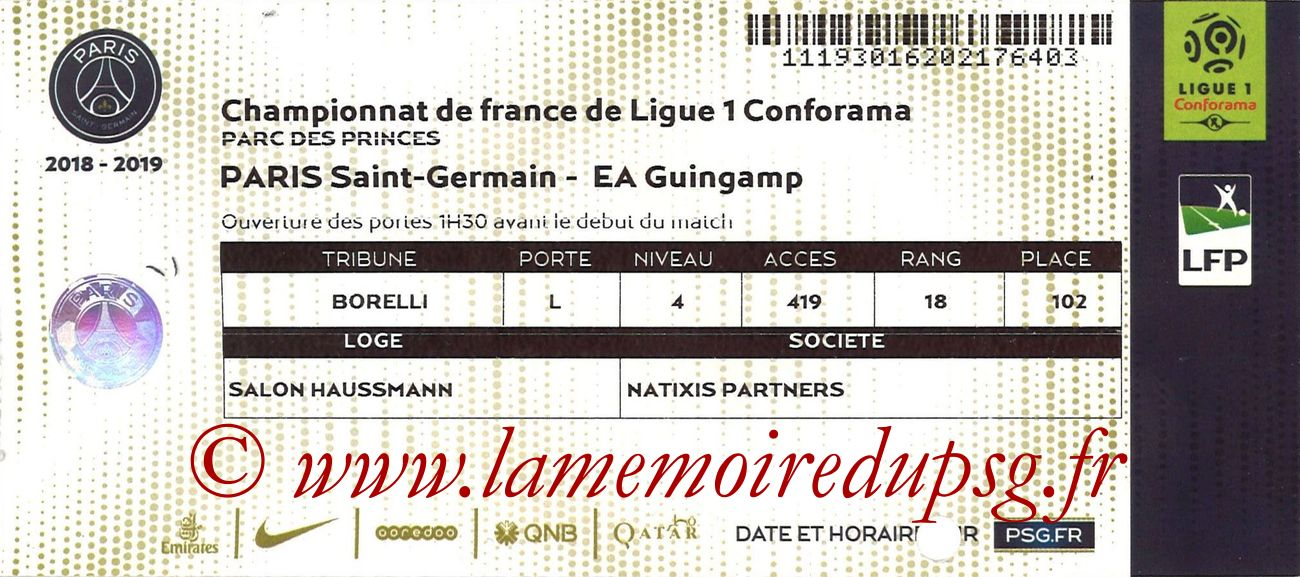 2019-01-19  PSG-Guingamp (21ème L1, Loge)