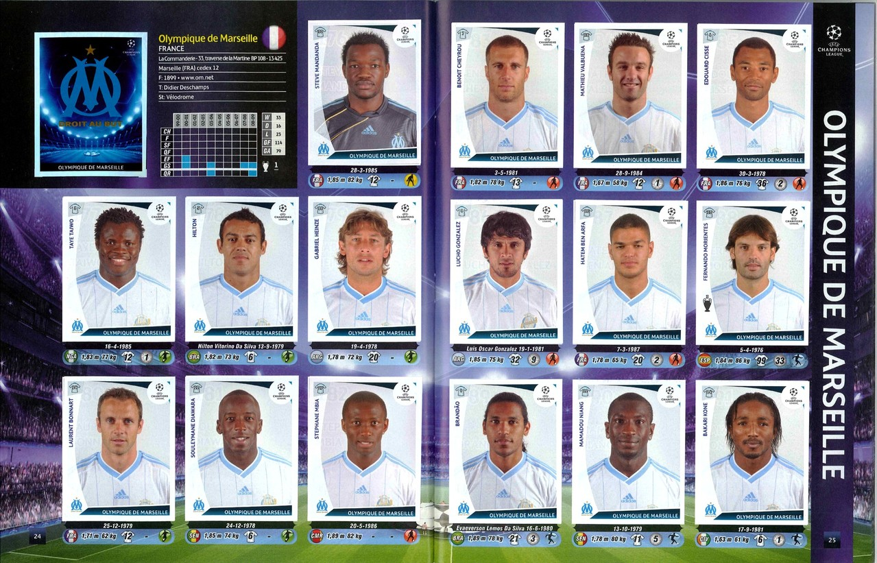 2009-10 - Panini Champions League - Pages 24 et 25 - Olympique de Marseille