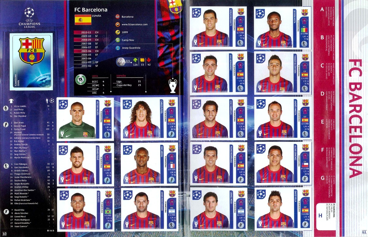 2011-12 - Panini Champions League - Pages 60 et 61 - FC Barcelone