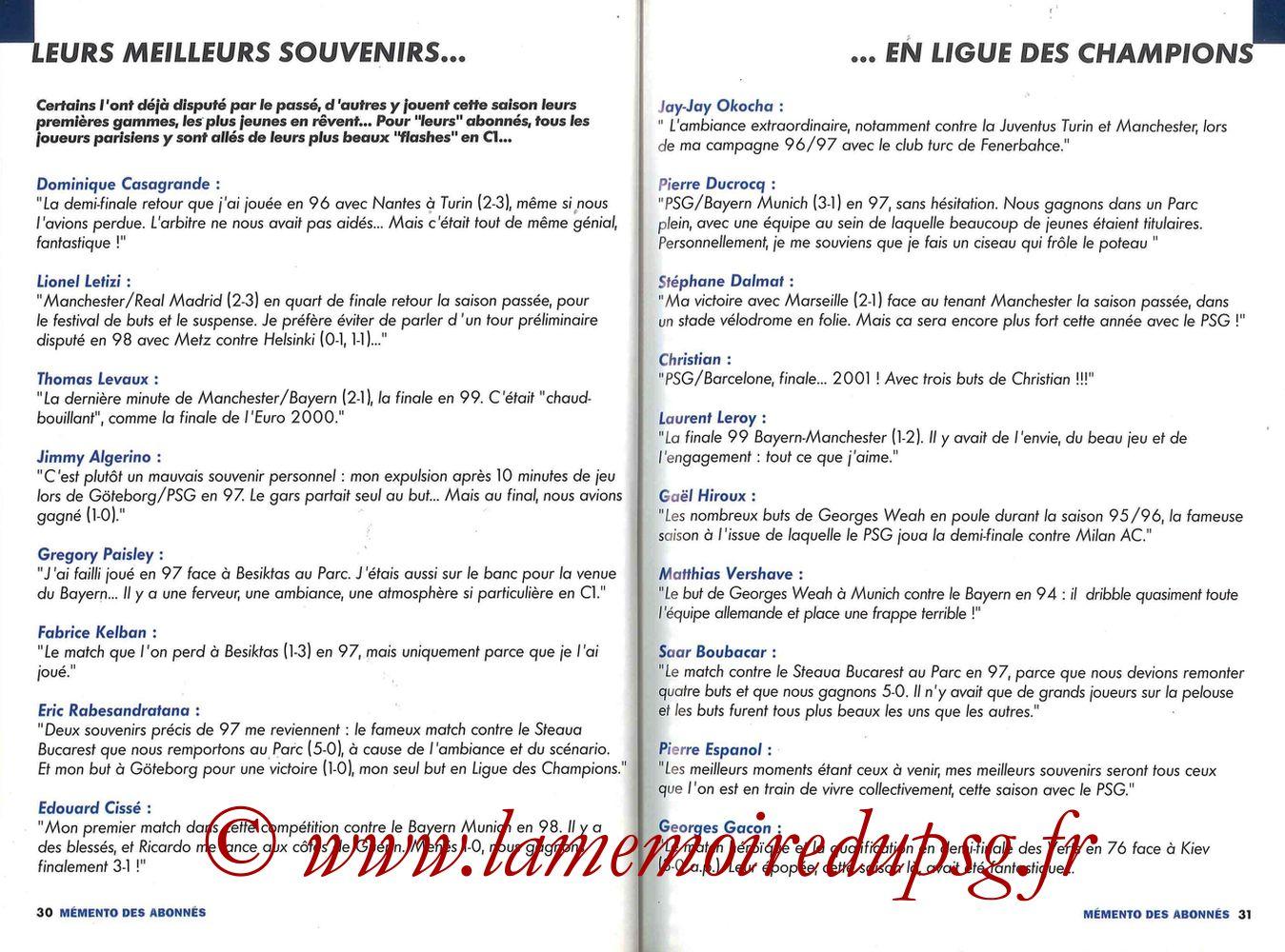 2000-01 - Guide de la Saison PSG - Pages 30 et 31