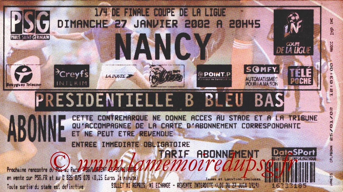 2002-01-27  PSG-Nancy (Quart Finale CL)