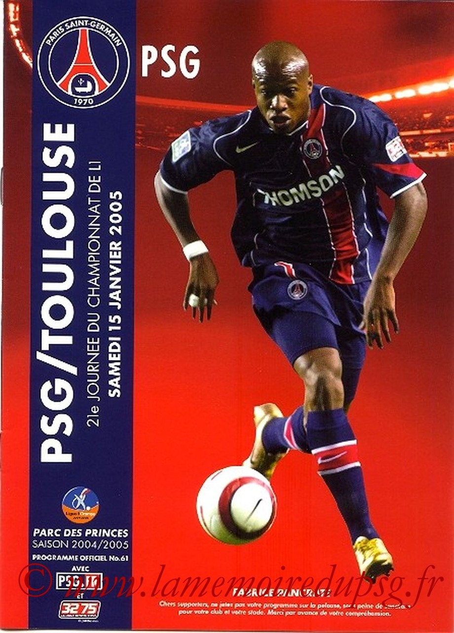 2005-01-15  PSG-Toulouse (21ème L1, Officiel N°61)