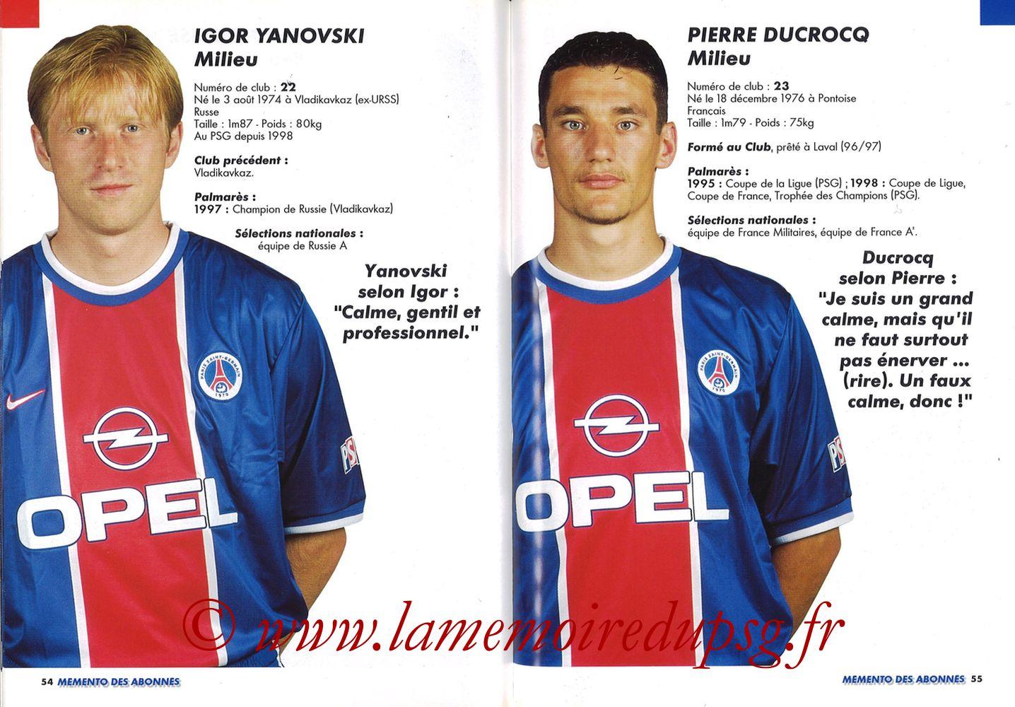 1999-00 - Guide de la Saison PSG - Pages 54 et 55