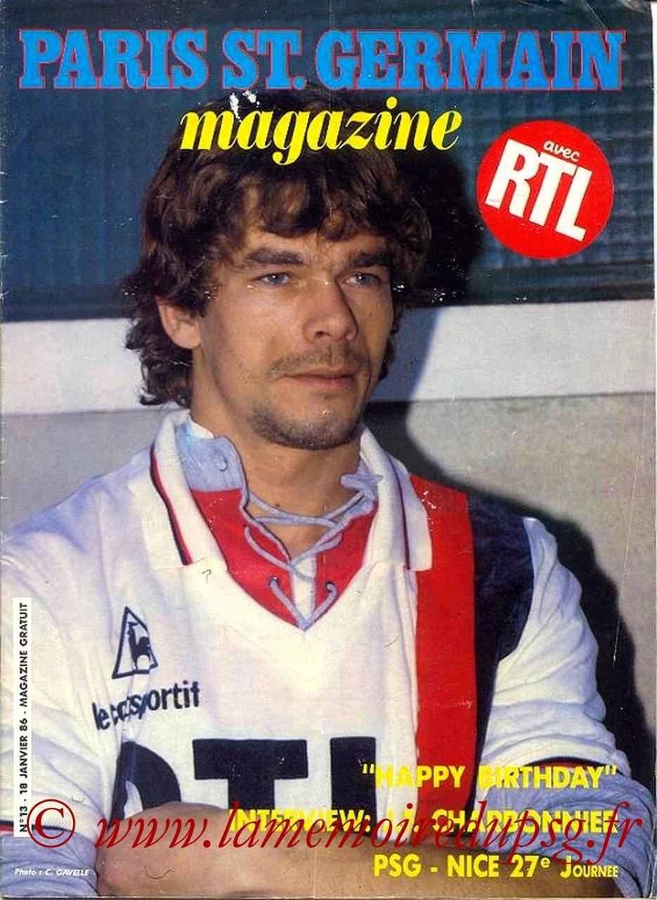 1986-01-18  PSG-Nice (27ème D1, Paris St Germain Magazine N°13)
