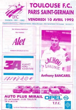1992-04-10  Toulouse-PSG (35ème D1, Programme officiel)
