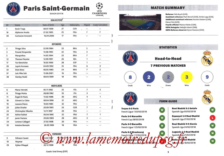 2018-03-06  PSG-Real Madrid (8ème C1 retour, Programme pirate) - Pages 04 et 05