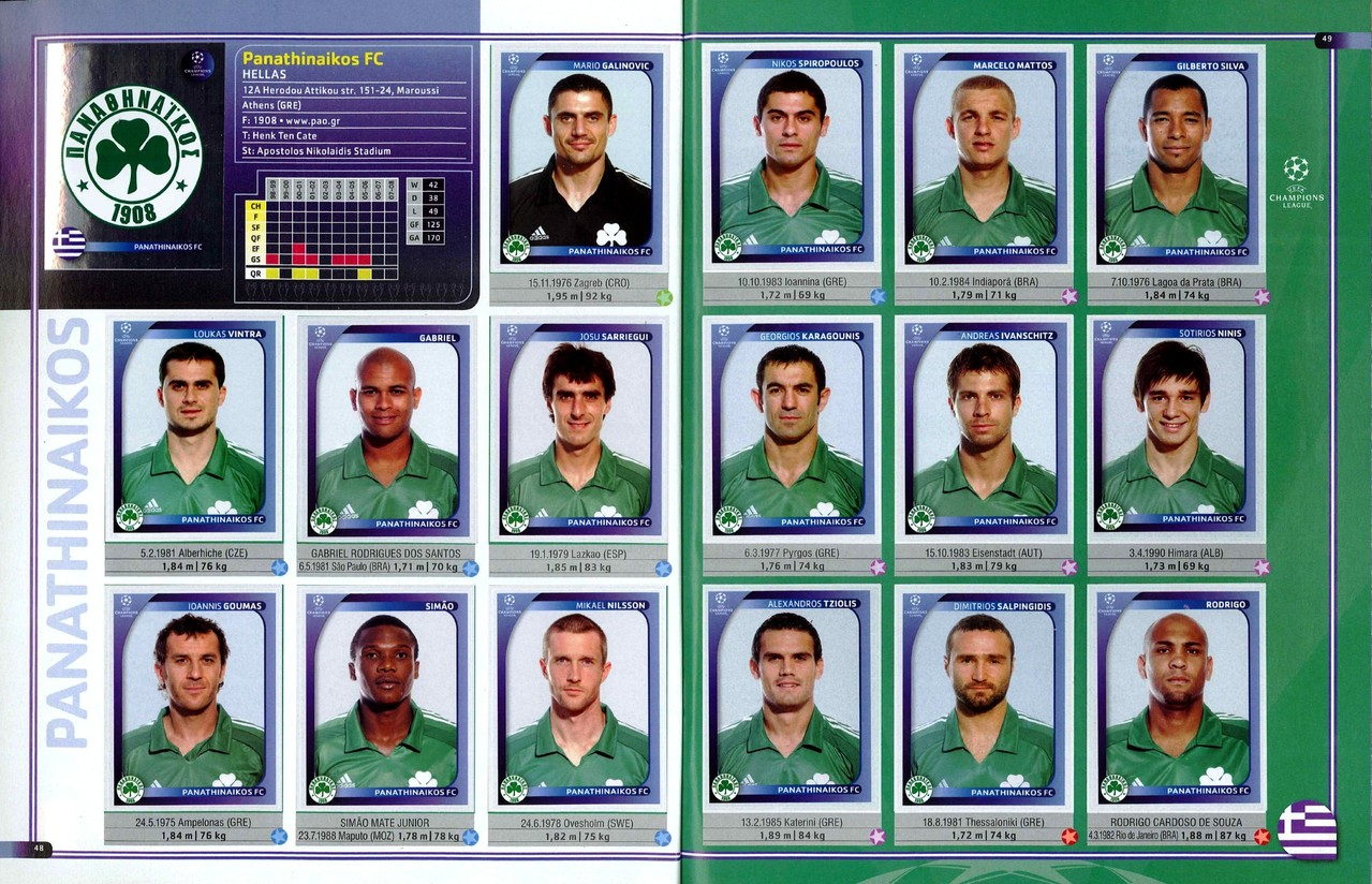 2008-09 - Panini Champions League - Pages 48 et 49 - Panathinaikos FC