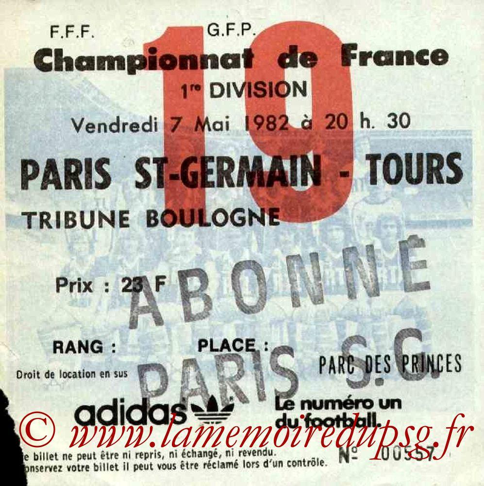 1982-05-07  PSG-Tours (38ème D1, Ticket N°19)