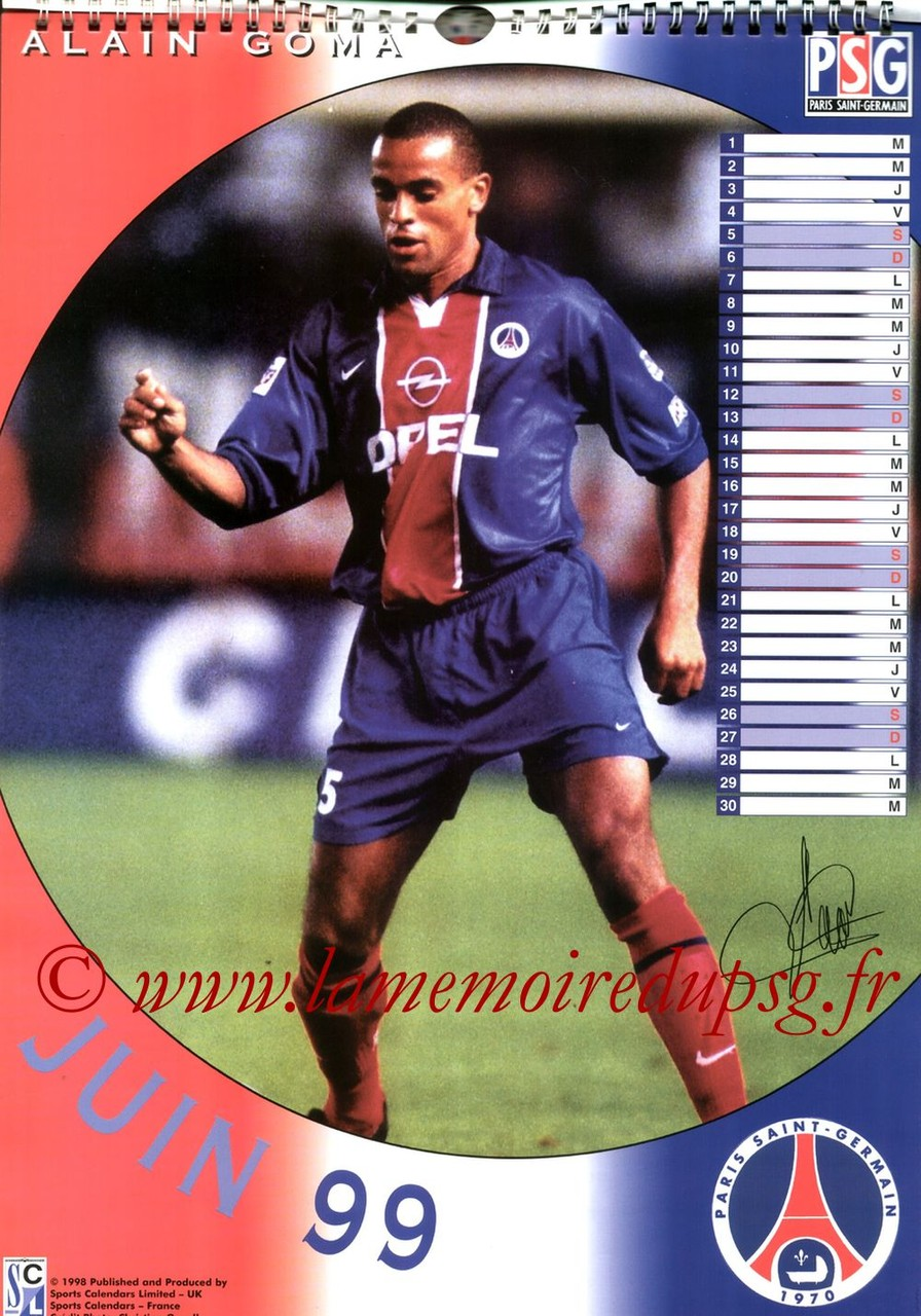 Calendrier PSG 1999 - Page 06 - Alain GOMA