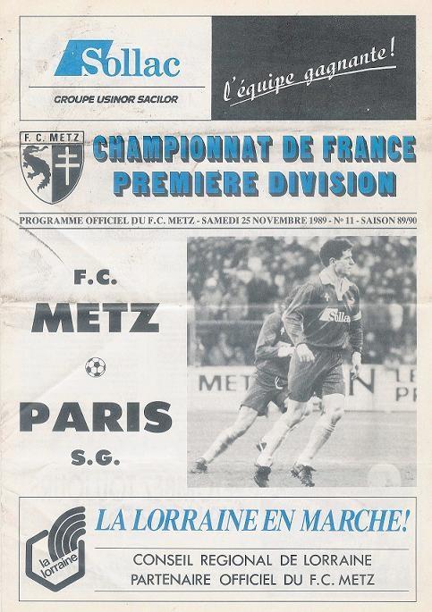 1989-11-25  Metz-PSG (20ème D1, Officiel N°11)