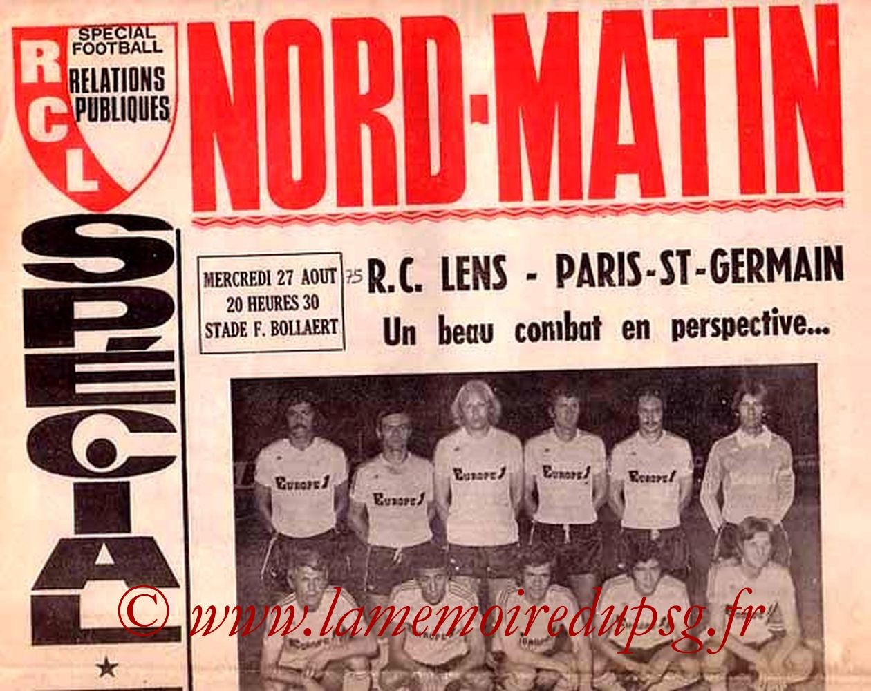 1975-08-27  Lens-PSG (4ème D1, Nord Matin)