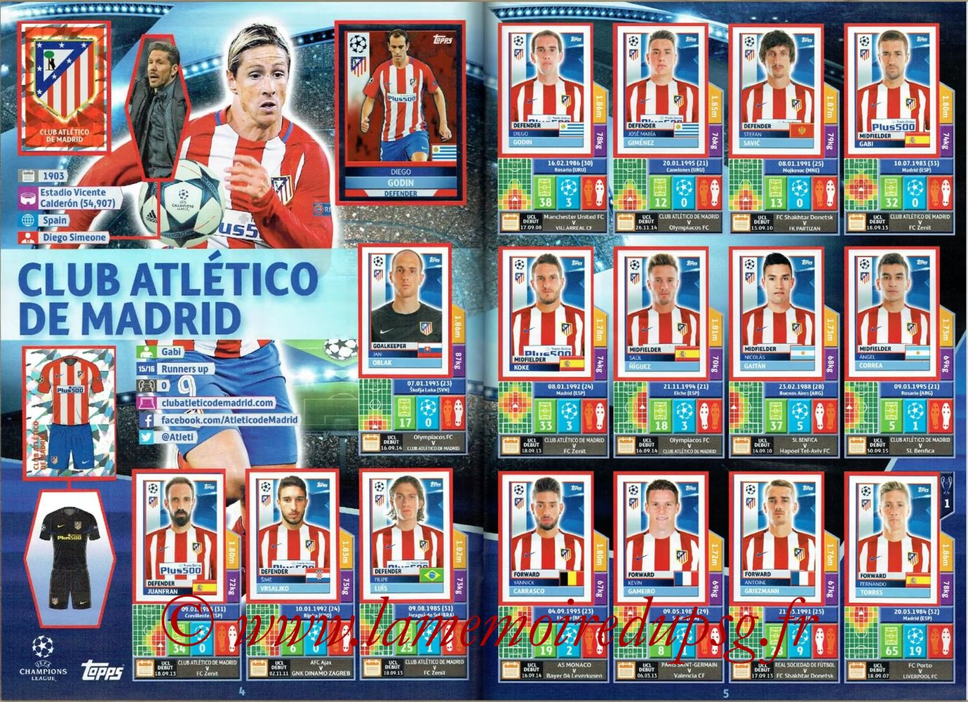2016-17 - Topps UEFA Champions League Stickers - Pages 04 et 05 - Club Atletico de Madrid