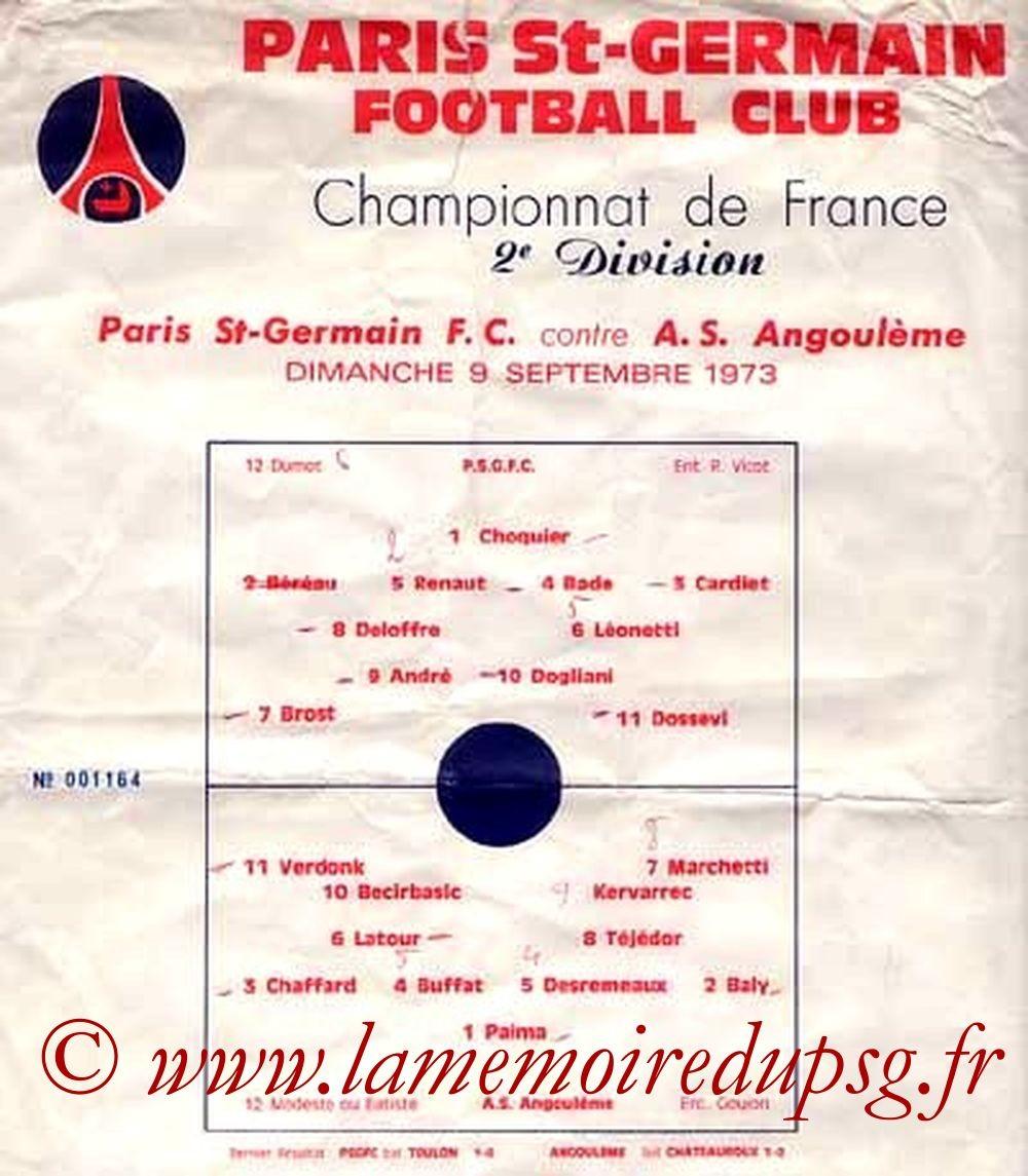 1973-09-09  PSG-Angoulême (4ème D2, Programme officiel)