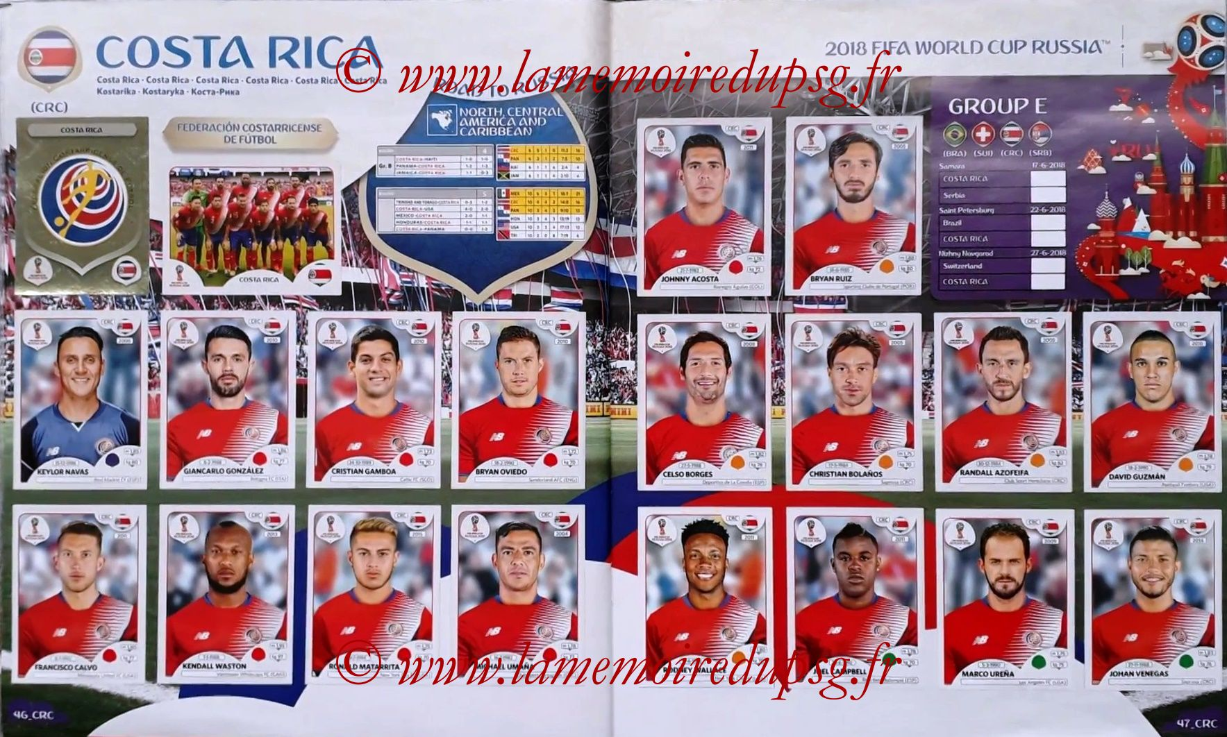 2018 - Panini FIFA World Cup Russia Stickers - Pages 46 et 47 - Costa Rica