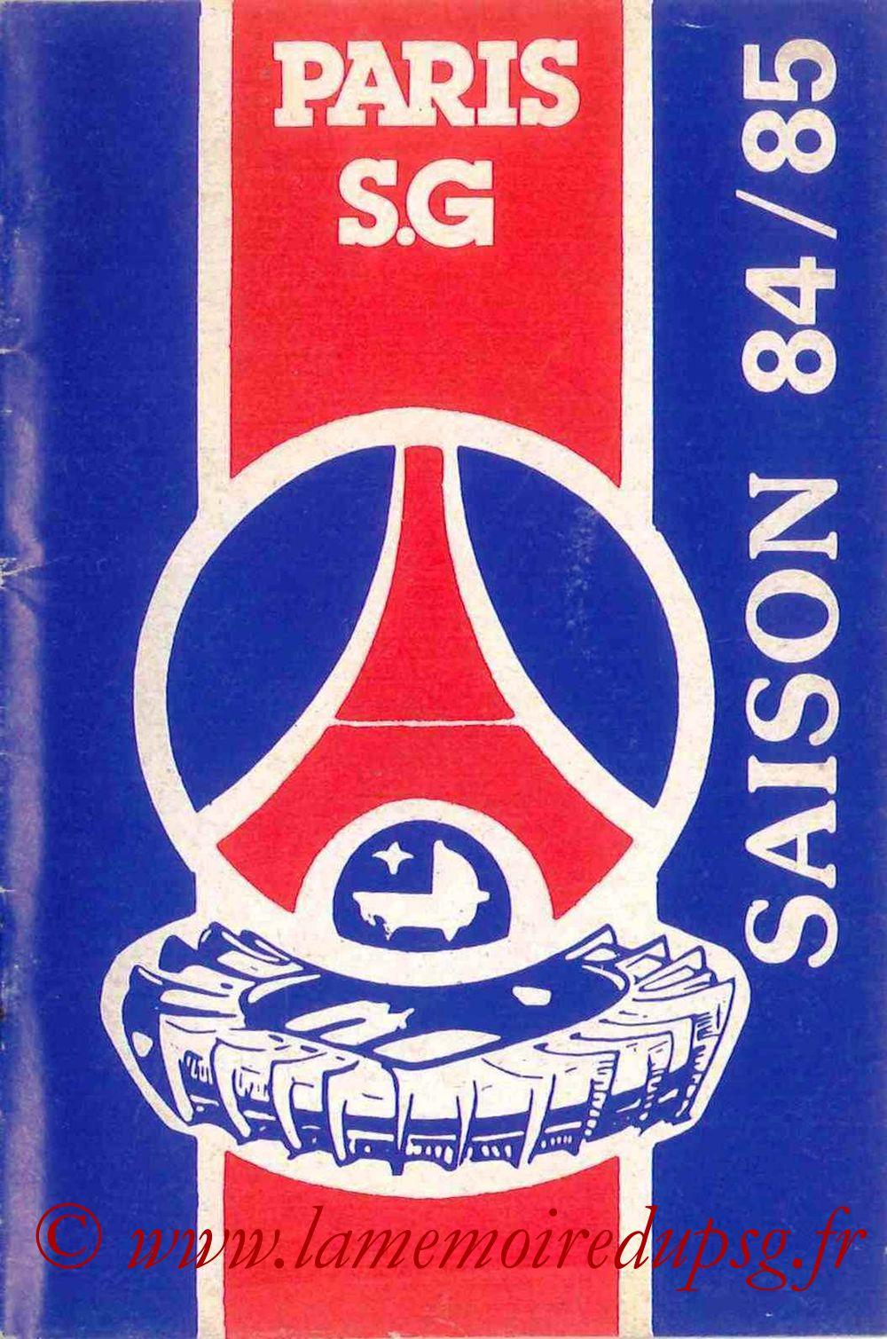 1984-85 - Guide de la Saison PSG - Couverture