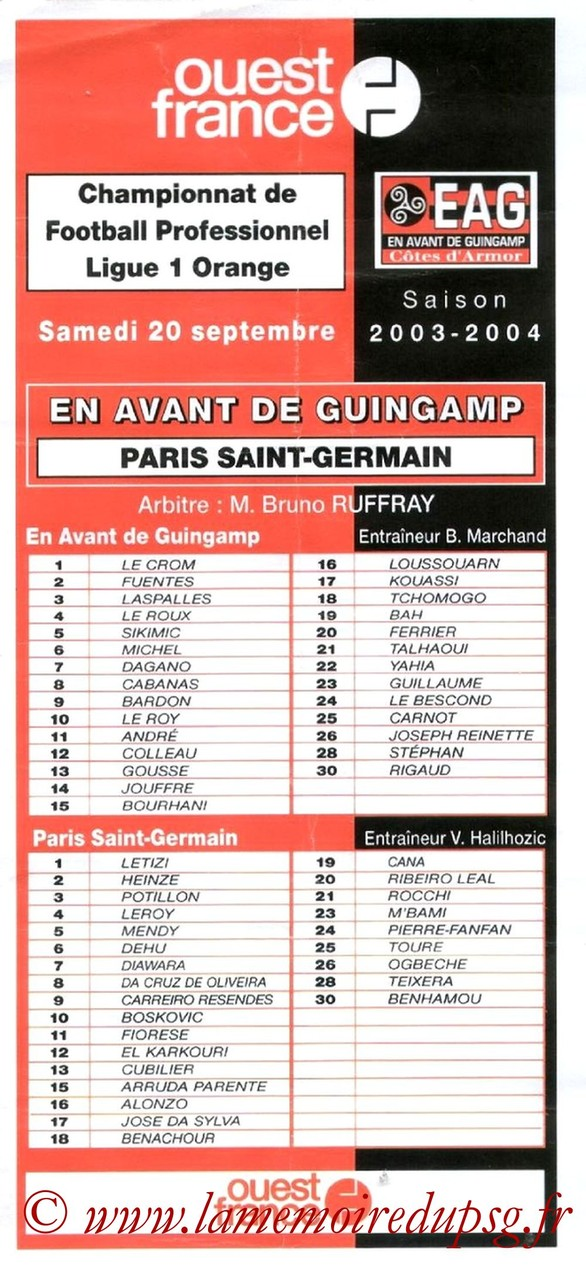 2003-09-20  Guingamp-PSG (7ème L1, Feuille officielle)