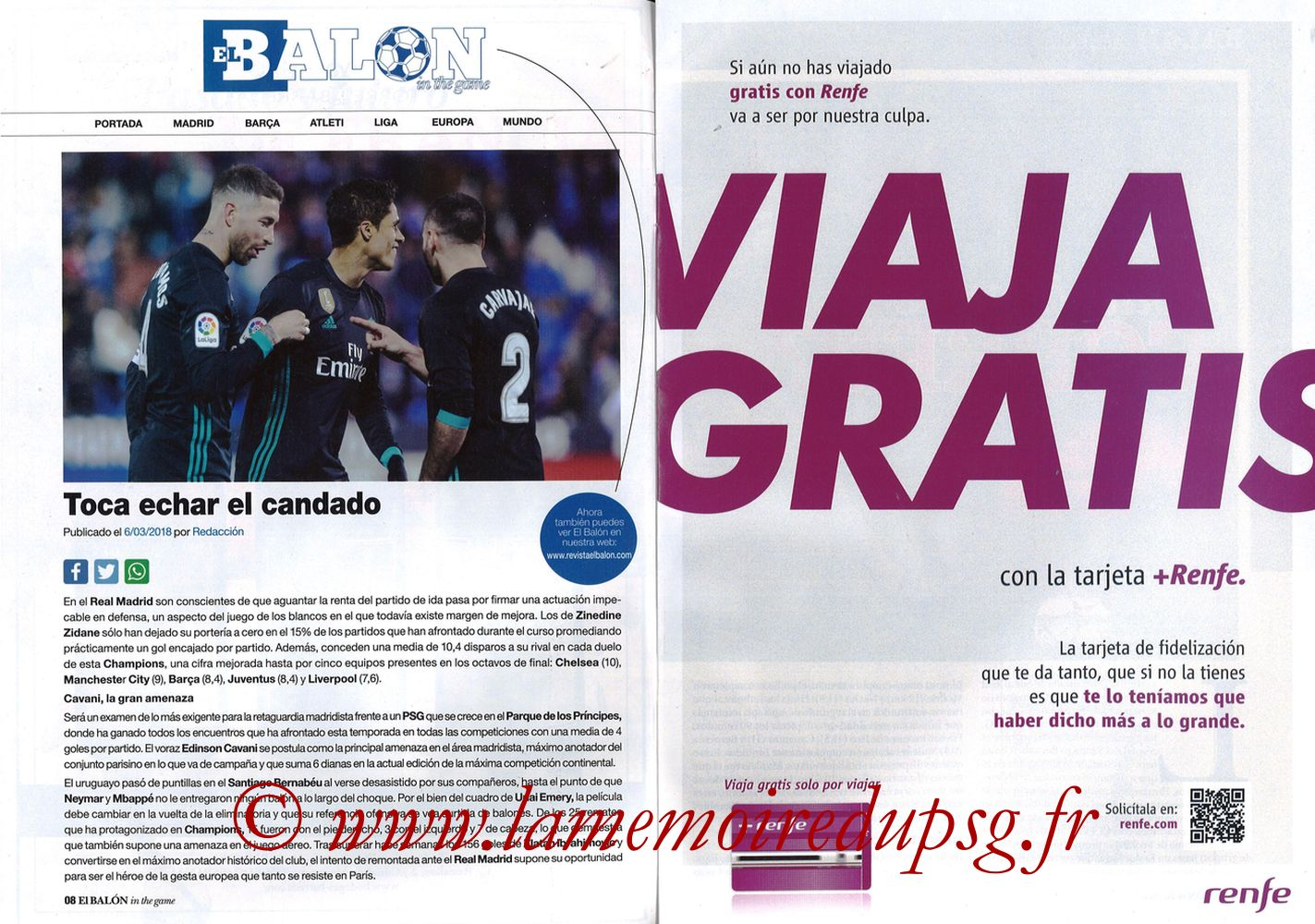 2018-03-06  PSG-Real Madrid (8ème Retourr C1, El Balon in the game N°49) - Pages 08 et 09