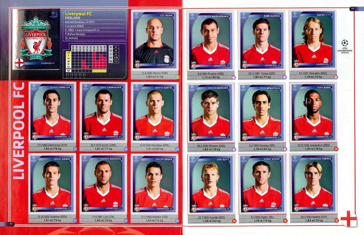 2008-09 - Panini Champions League - Pages 42 et 43 - Liverpool FC
