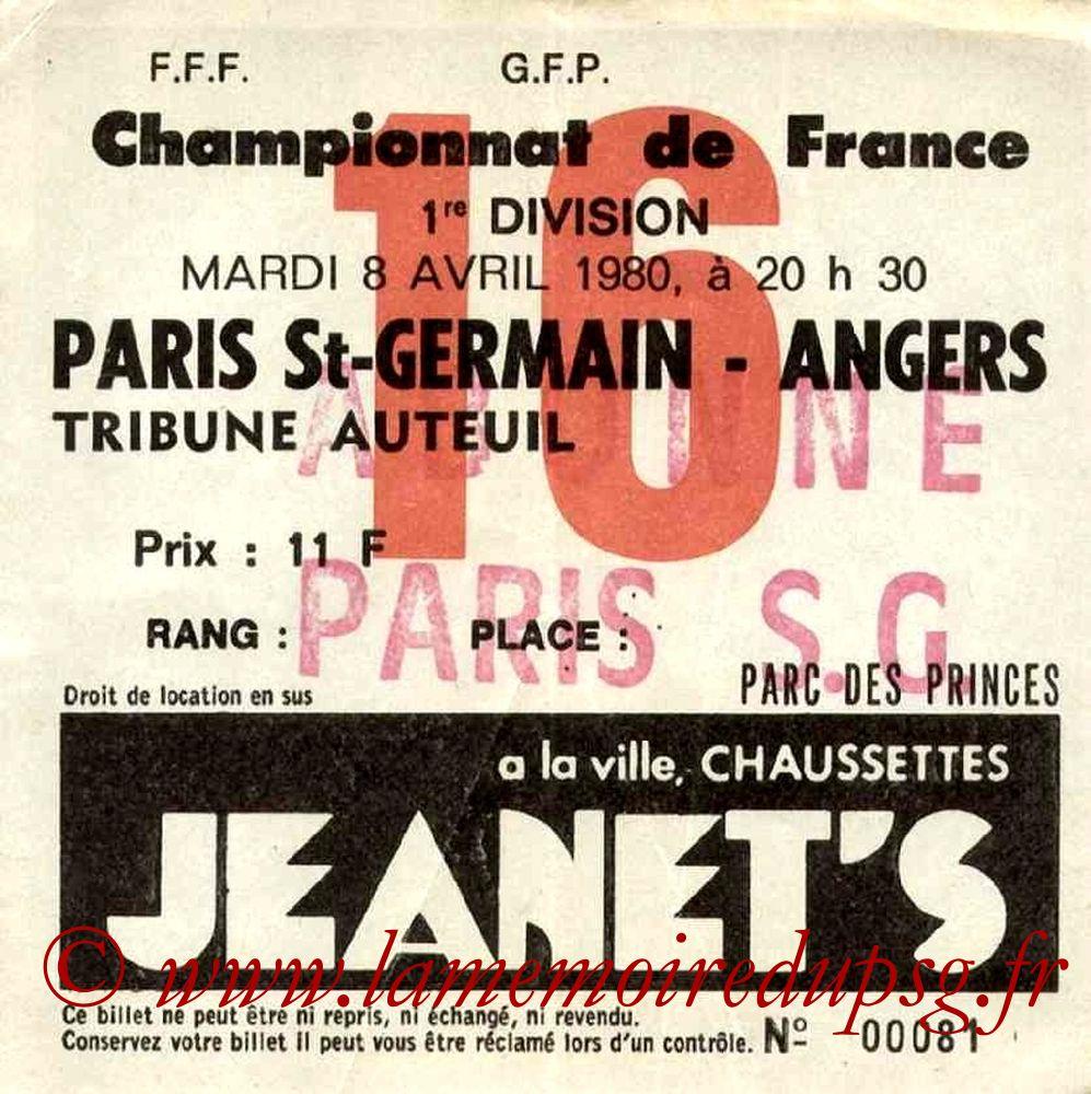 1980-04-08  PSG-Angers (32ème D1, Ticket N°16)