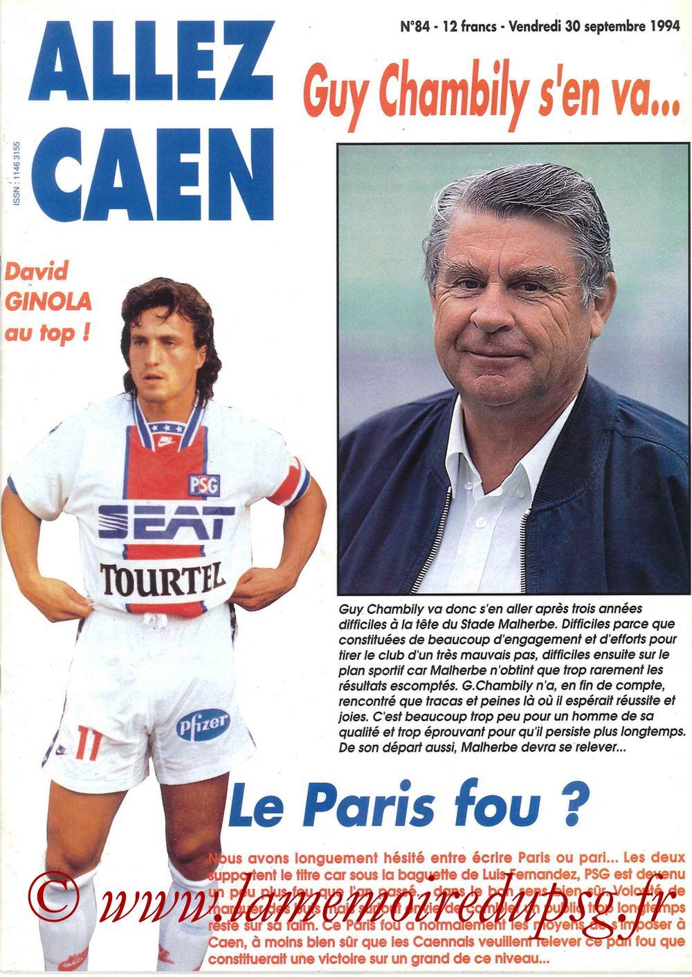 1994-09-30  Caen-PSG (11ème D1, Allez Caen N°84)
