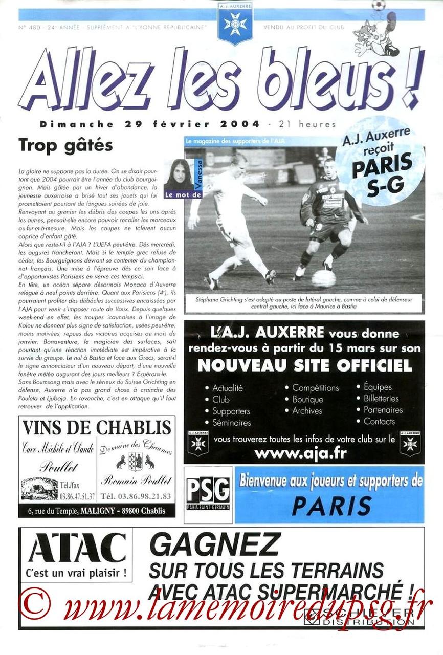 2004-02-29  Auxerre-PSG (26ème L1, Allez les bleus N°480)