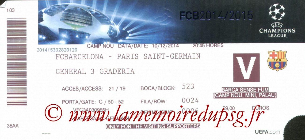 2014-12-10  Barcelone-PSG (6ème Poule C1)