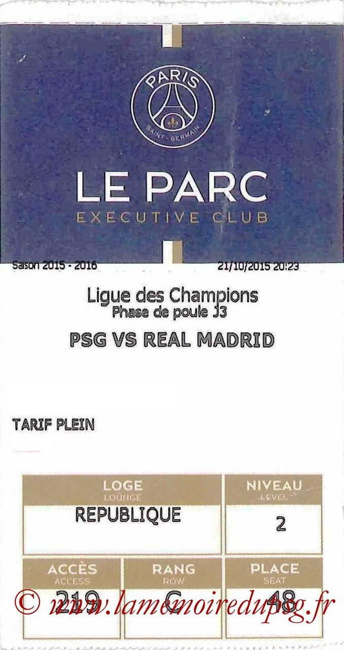 2015-10-21  PSG-Real Madrid (3ème C1, E-ticket Executive Club)