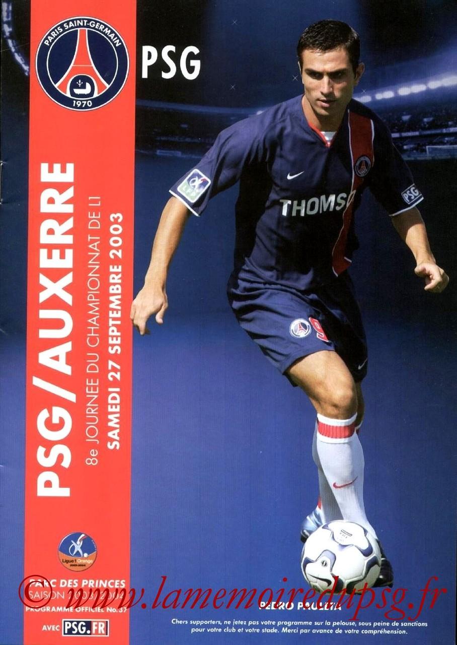 2003-09-27  PSG-Auxerre (8ème L1, Programme officiel N°37)