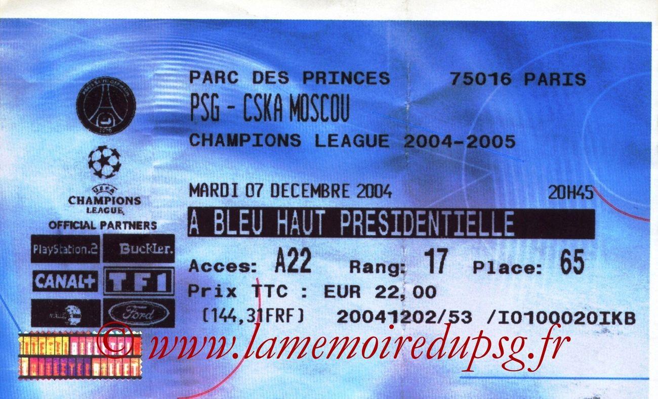 2004-12-07  PSG-CSKA Moscou (6ème Journée Poule C1, Billetel)