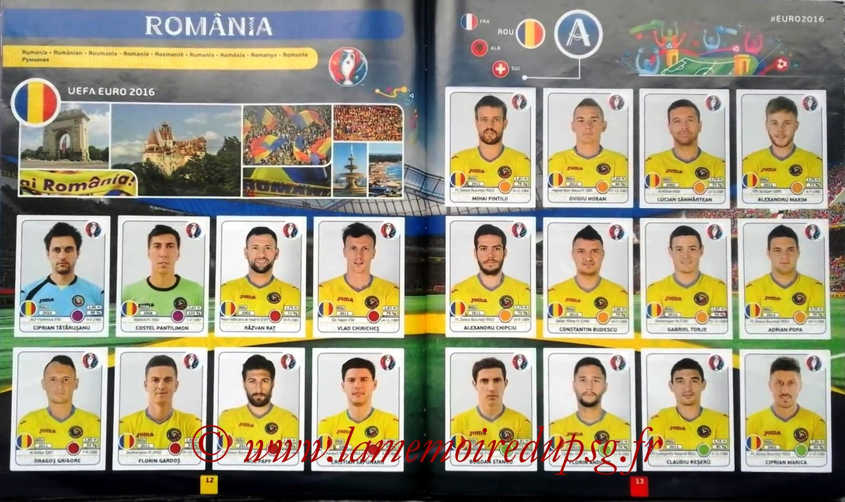 Panini Euro 2016 Stickers - Pages 12 et 13 - Roumanie